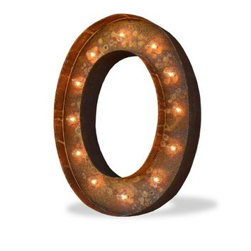 "12"" Letter O Lighted Vintage Marquee Letters (Modern Font/Rustic)"