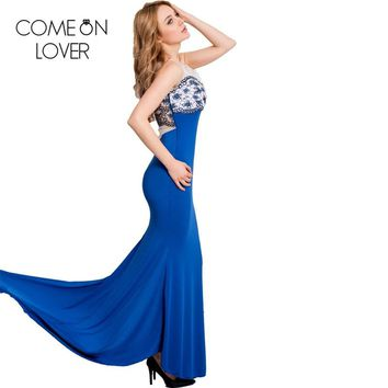 RE80086 Comeonlover Strapless printed sexy summer maxi dress off the shoulder floor length plus size dress mermaid long dresses