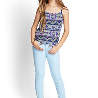 FOREVER 21 GIRLS Tribal Print Cami (Kids) Royal/Multi