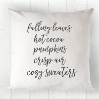 Fall Words Pillow Cover - Favorite Fall Things, Fall Decor, Hot Cocoa, Pumpkins, White Pillow, Farmhouse Pillow, 16 x 16, 18 x 18, 20 x 20
