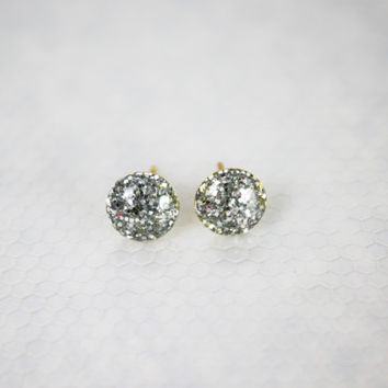 small silver glitter earrings, stud earrings, stud earrings, gifts for her