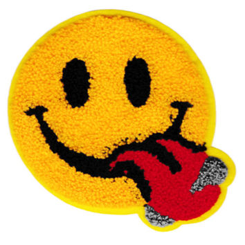 XL 14cm Extra Large Cool Chenille Yellow Smiley Face Smile Patch Badge