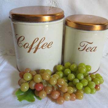 Vintage Decoware Canisters with Copper Colored Lids Set of Two