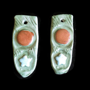 Pendant -Set of two long ceramic pendant- Green, blue and red pendant- jewelry/craft supplies. hand painted pendan.
