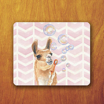 Funny Alpaca Cartoon Painting Mouse Pad Blow Balloons Pink Chevron Pattern Mousepad Vintage Office Desk Decoration Gift Teacher Gift