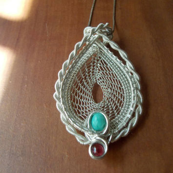 Heady Wire Wrapped Dream Catcher Pendant with Turquoise and Garnet // Sterling Silver Necklace