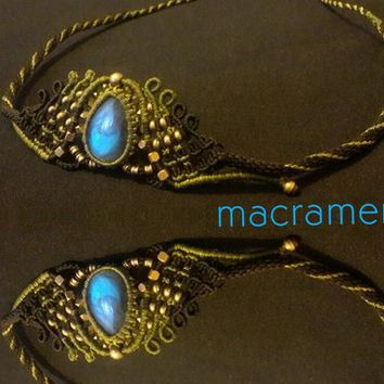 crystal jewelry hair accessories unique tiara wedding tiara handmade macrame crown necklace labradorite for women unique design macramen