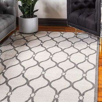 9717 Ivory Moroccan Trellis Contemporary Area Rugs