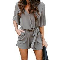Women Playsuit Sexy V-Neck Romper Thin Chiffon Summer Playsuits Beach Overalls Jumpsuits Shorts
