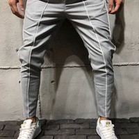 Ankle Pants Front and Side Stripes - Gray