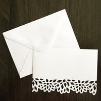 Blank Note Card. Handmade Thank You Card. Flower die cut note cards. White thank you card. White envelope. Bridesmaids gift Appreciation gif