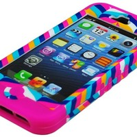 BasTexWireless Bastex High Impact Hybrid Case for Apple iPhone 5, 5th Generation - Hot Pink Silicone with Hard Chevron Fishtail Design
