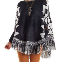 Dolman Sleeve Border Print Poncho with Fringe