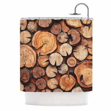 "Susan Sanders ""Rustic Wood Logs"" Brown Tan Shower Curtain"