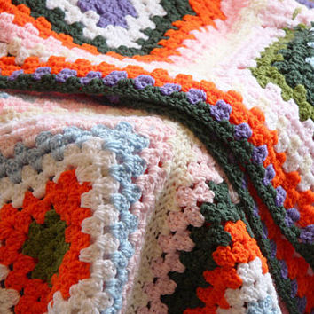 Vintage Afghan color throw Granny Square Rainbow Orange, pink, blue green, purple cottage chic decor , Spring Home decor