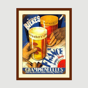 Metal Beer Sign, Beer Hops, French Art, Beer Wall Art, Bar Sign, French Decor, Metal Wall Art, Beer Decor, Gifts for Him Gifts for Dad