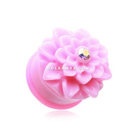 A Pair of Charming Pink Chrysanthemum Single Flared Ear Gauge Plug