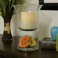 Hand Blown Glass Hurricane Fillable Candle Holder Vase With Flameless Timer Pillar Candle