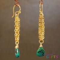 "Chain with green turquoise, 2-1/2"" Earring Gold Or Silver"