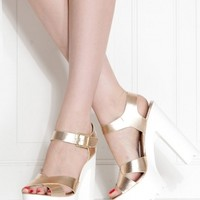Gold Faux Leather Cross Strap Lug Sole Heels @ Cicihot Heel Shoes online store sales:Stiletto Heel Shoes,High Heel Pumps,Womens High Heel Shoes,Prom Shoes,Summer Shoes,Spring Shoes,Spool Heel,Womens Dress Shoes