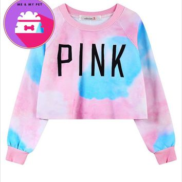 Spring Harajuku VS Love Pink Sweatshirts Crop Top women Long sleeve Casual cropped Hoodie Pullover Sweat femme
