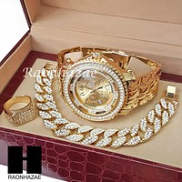 TECHNO KING ICED SET ICED OUT RAPPER 14K GOLD WATCH CUBAN BRACELET RING SET L12