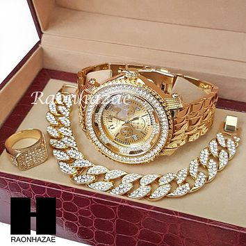 TECHNO KING ICED SET RAPPER 14K GOLD WATCH CUBAN BRACELET RING SET L12