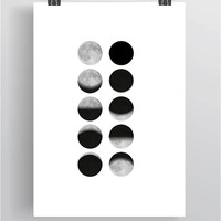 Moon Print, Moon Phases, Moon Wall Print, Moon Poster, Moon Prints, Moon Wall Art, Moon Phases Print, Moon Phases Poster *17*