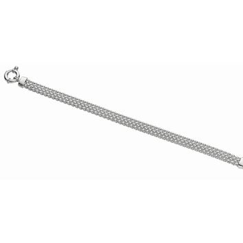 Silver with Rhodium Finish 7.2mm Shiny Flat Wheat Type Bracelet with Sprin g Ring Clasp