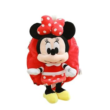 Best Quality 1pcs 28*26cm Mickey And Minnie Bag Children's Nursery School lovely bag Plush Backpack Plush Toys
