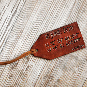 Longitude and Latitude Leather Luggage Tags - Map Coordinates - Custom - Personalized - 3rd Wedding Anniversary - Leather Gift -