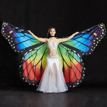 Performance Women Dancewear Stage Props Polyester Cape Cloak Dance Fairy Wing Butterfly Wings for Belly Dance (with Sticks)