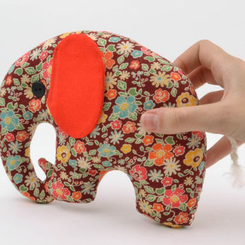 Soft handmade toy Floral Elephant gift ideas for child stuffed doll fun pattern