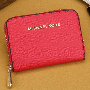 MK Women Leather Zipper Wallet Purse-14