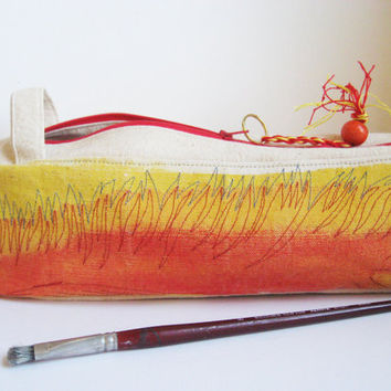 Pouch for pencils, brushes, knitting needles, orange yellow, natural canvas art bag