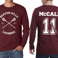 Beacon Hills Lacrosse CR McCall 11 Scott McCall on Longsleeve MEN tee Maroon color