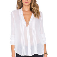Enza Costa Long Sleeve Pintuck Shirt in Optic White