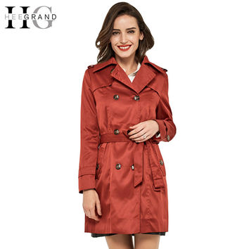 4ba0a6d41b0 HEE GRAND Women Trench Long Coat 2016 Slim Fashion Windshield Sobretudo  Feminino Autumn Woman Coat Plus