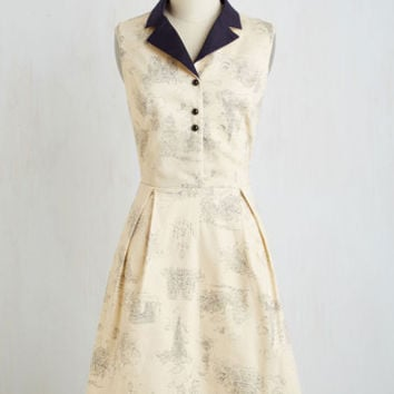 Vintage Inspired Mid-length Sleeveless Fit & Flare I Wanna France With Somebody Dress