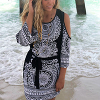 Bermuda Black And White Open Shoulder Mandala Print Dress