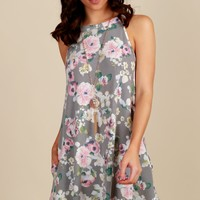 Wild Flowers Print Dress Grey