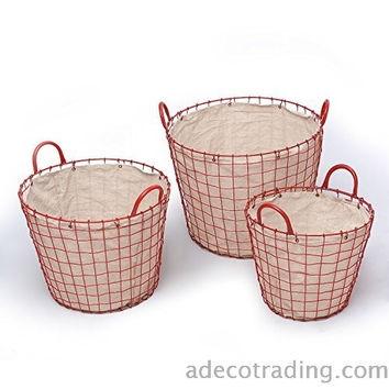 Oval Urban Style laundry Baskets with Red Wired Detail on Liner Home Decor Set of 3