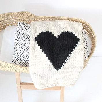 Off-White and Black Heart Knitted Baby Blanket