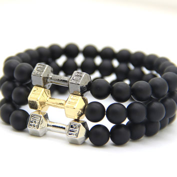 8mm Matte Black Stone Bead Platinum Fitness Bracelet - GYM Dumbell Bracelet