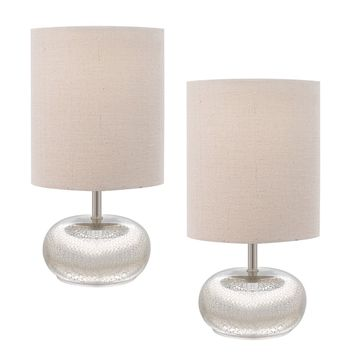 Catalina 12-inch Mercury Glass Accent Lamps with Beige Linen Drum Shade (Pack of 2) | Overstock.com Shopping - The Best Deals on Table Lamps