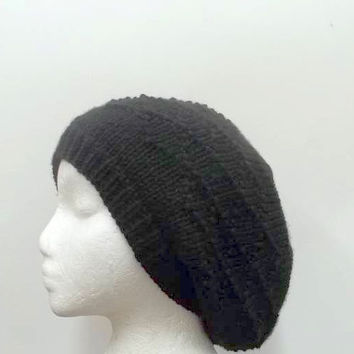 Black slouchy hat beret knitted diamond pattern large   4837