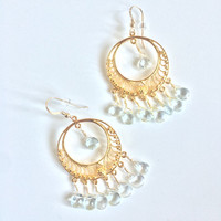 Peace & Serenity ~ Beautiful Handmade Vermeil Chandeliers w/ Wire Wrapped Aquamarine Earrings