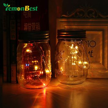 Solar Powered RGB 10-LED Glass Bottle Light Waterproof Jar Lamp Coppoer Light with Handle Flashing and Gradual Change for Party