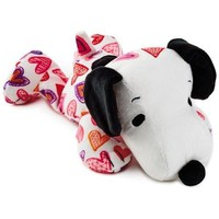 Hallmark Peanuts Snoopy Heart Print Floppy Stuffed Animal, 10.5""