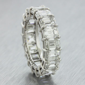9.35ct G-H VS1 SI1 Platinum Emerald Cut Diamond Eternity Wedding Band Ring